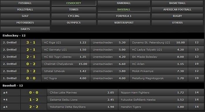 Betsafe live betting offer